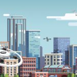 This illustration depicts multiple small drones flying in an urban environment, which will be the scenario for NASA's last in a series of demonstrations of a system that safely manages drone flight. Source: NASA