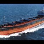 The Marine Electric, a 605-foot cargo ship, as seen underway before its capsizing and sinking on Feb. 12, 1983. The converted WWII-era ship foundered 30 miles off the coast of Virginia and capsized, throwing most of its 34 crew into 37-degree water, where 31 of them drowned or succumbed to hypothermia. Photo: US Coast Guard