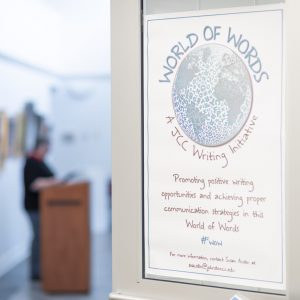 A Johnston Community College #WOW World of Words Writing Initiative event sign. Photo: Dr. Tammy Bird