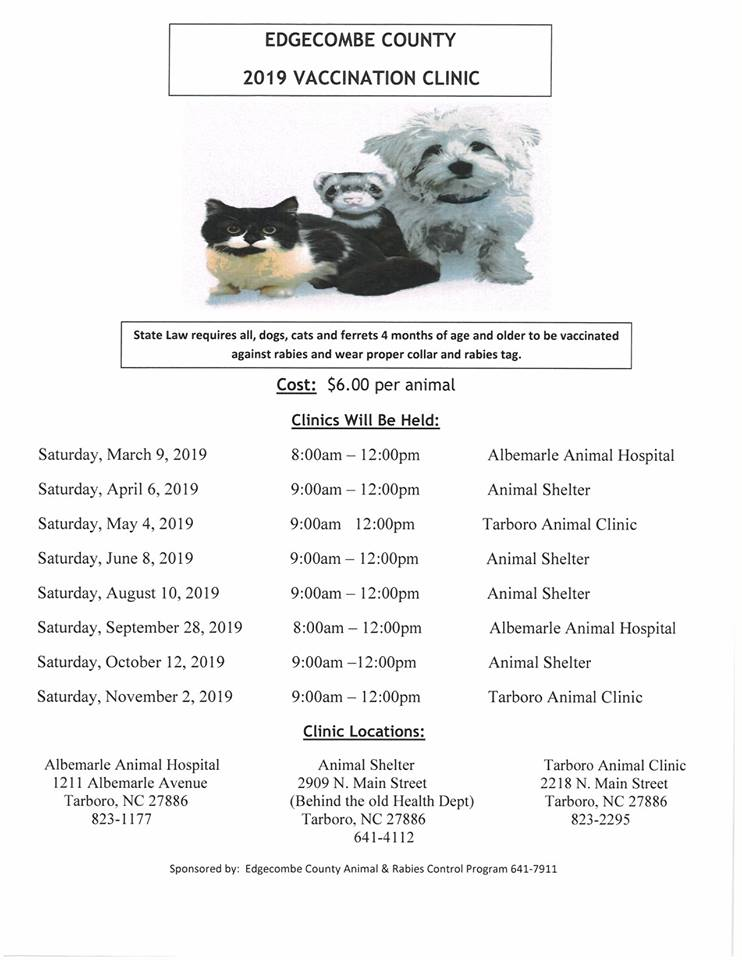 Schedule of 2019 Rabies Clinics in Edgecombe County, NC. Source: Edgecombe County Sheriff's Office