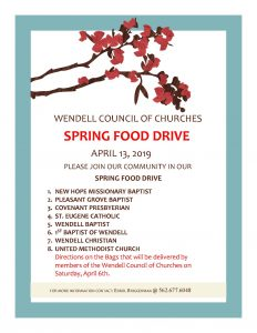 Spring Food Drive 2019 flyer. Source: Sherry Scoggins, Town of Wendell