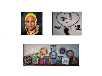 Artist Linda Wade and a few of her creations. Photos source: Ellen Queen, Franklin County Arts Council