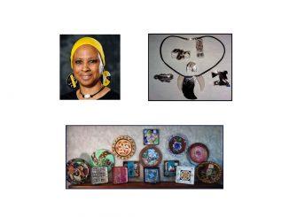 Artist Linda Wade and a few of her creations. Photos source: Ellen Queen, Franklin County Arts Council