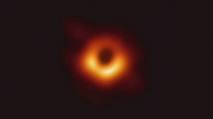 Scientists have obtained the first image of a black hole, using Event Horizon Telescope observations of the center of the galaxy M87. The image shows a bright ring formed as light bends in the intense gravity around a black hole that is 6.5 billion times more massive than the Sun. Credit: Event Horizon Telescope Collaboration