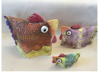 NC Potter Marsha Rogers' clay chickens, which feature in Cindy Brookshire's winning short story. Source: Cindy Brookshire