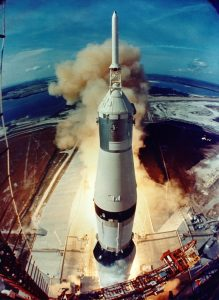 Apollo 11 liftoff from launch tower camera. Source: National Aeronautics and Space Administration History Office / JSC Media Services Center.