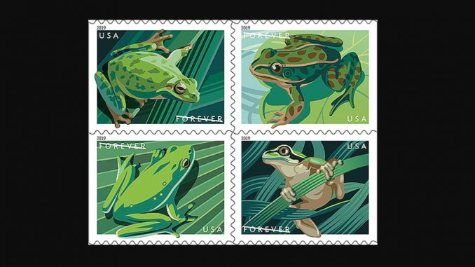 Frog Forever stamps featuring four US species. Source: United States Postal Service