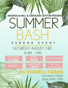 Summer Bash Vendor Event. Source: HS Howell Farms, Zebulon, NC