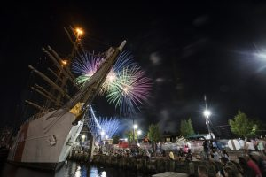 The Coast Guard Cutter Barque Eagle is shown docked in Norfolk, Virginia, during Norfolk's annual Harborfest fireworks show, June 10, 2017. Source: US Coast Guard photo by Petty Officer 2nd Class Ashley J. Johnson