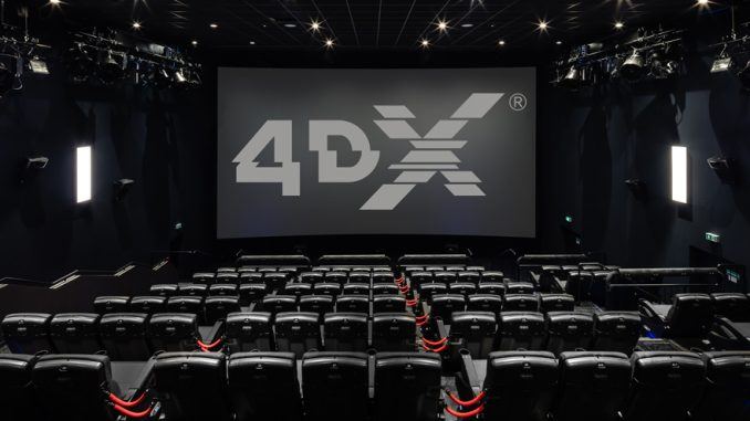 A 4DX Theater with moving seats and atmospherics. Source: Ryan Smith, Rogers and Cowan