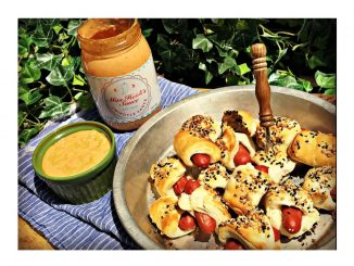 Pigs-in-a-blanket with Miss Heidi's Sauce as dip. Source: Wendy Perry / Miss Heidi's Sauce