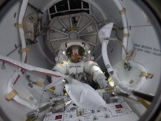 Spacewalker Christina Koch enters the Quest airlock. Source: NASA Johnson