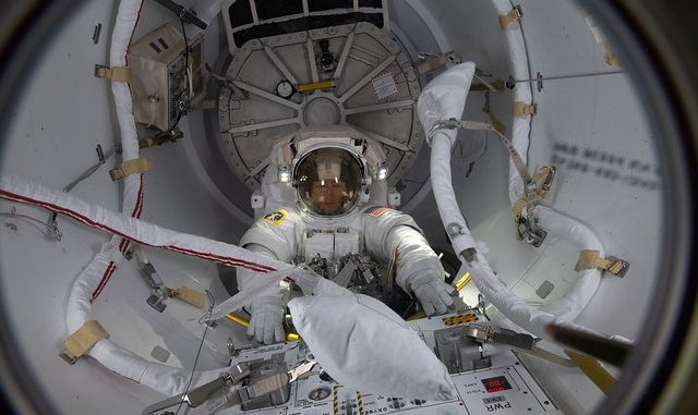 Spacewalker Christina Koch enters the Quest airlock. Source: NASA Johnson