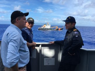 The command from USCGC Walnut (WLB 205), and the Charge d'Affairs Tony Greubel of US Embassy Samoa spent time with peers on HMNZS Otago (P148) off Samoa Aug. 4, 2019. Photo: HMNZ Navy Lt. Samuel Murray/Released