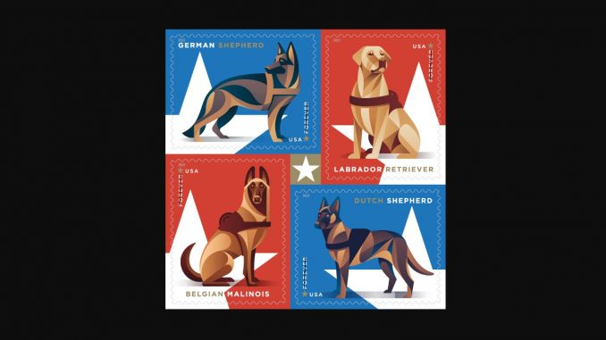 US Military Working Dogs stamps. Source: United States Postal Service
