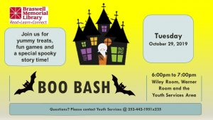 BOO BASH is October 29, 2019. Source: Braswell Memorial Library