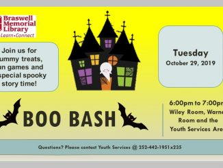 Boo Bash is October 29, 2019. Source: Braswell Memorial Library, Rocky Mount, North Carolina