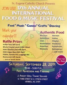 International Food and Music Festival 2019 flyer. Source: Susan Welsh, St Eugene's Catholic Church, Wendell, NC