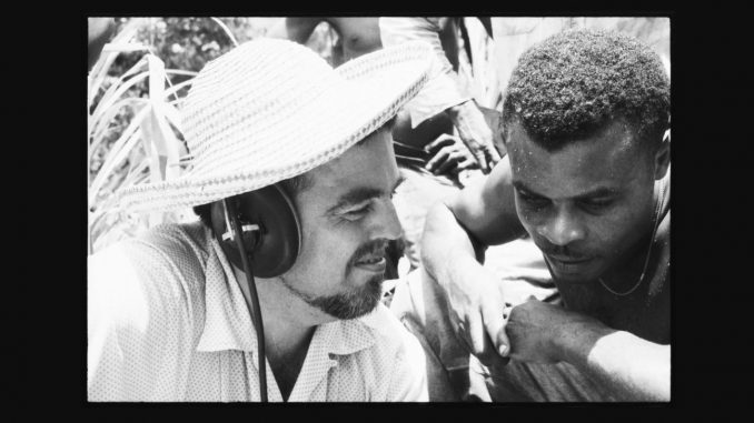 Alan Lomax and Raphael Hurtault listening to playback. La Plaine, Dominica. June 1962. Photo credit: Association for Cultural Equity. Source: US Library of Congress