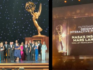 Team members JPL's Public Engagement and Digital News offices gather onstage with those of the Mars InSight mission and with JPL deputy director Larry James at the 2019 Creative Arts Emmy Awards on Sunday, Sept. 15, 2019. Source: NASA/JPL-Caltech