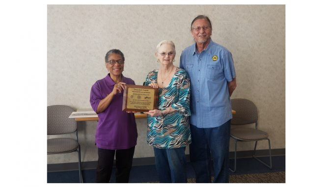 Forrest Poole Campbell honorary plaque presented by Mrs. Pat Campbell DeVore to Joyce Edwards Dantzler and John Marshall. Source: Rocky Mount Railroad Museum