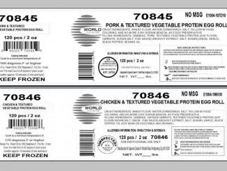 Two of the egg roll packaging labels released with the recall. Source: USDA Food Safety and Inspection Service