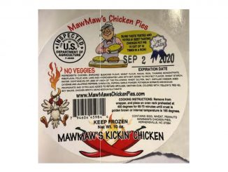One of the packaging labels released with the MawMaw's product recall. Source: USDA Food Safety and Inspection Service