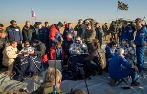 NASA astronaut Nick Hague, Russian cosmonaut Alexey Ovchinin and visiting astronaut from United Arab Emirates (UAE) Hazzaa Ali Almansoori returned to Earth from the International Space Station at 6:59am in Kazakhstan. Photo: NASA