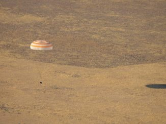 The Soyuz MS-12 spacecraft is seen as it lands in a remote area near the town of Zhezkazgan, Kazakhstan with Expedition 60 crew members Nick Hague of NASA and Alexey Ovchinin of Roscosmos, along with visiting astronaut Hazzaa Ali Almansoori of the United Arab Emirates, October 3, 2019. Photo: NASA/Bill Ingalls