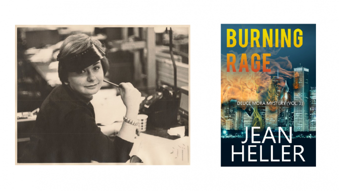 Mystery writer Jean Heller and the cover of her novel Burning Rage