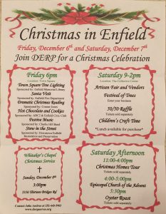 Christmas in Enfield flyer provided by Downtown Enfield Restoration and Preservation