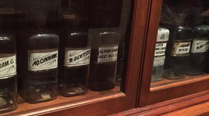 Medicinal supplies on display in the doctor's cabinets. Photo: Kay Whatley