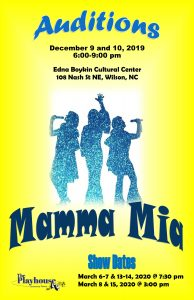 Mamma Mia show poster. Source: Bobbi Jo Bone, The Playhouse of Wilson