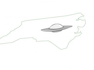 The Grey Area News' UFO with North Carolina outline