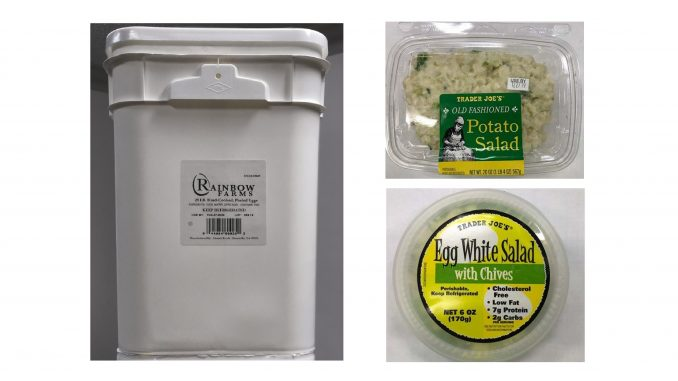 Pails of eggs, products made with the eggs, subject to recalls in December 2019. Source: US Food and Drug Administration