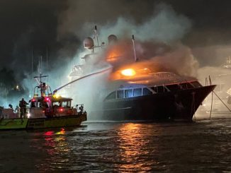 Coast Guard Sector Miami watchstanders received a report from a Miami-Dade Fire Rescue team December 18, 2019 that the 120-foot motor yacht Andiamo was on fire. Source: US Coast Guard, Petty Officer 3rd Class Brandon Murray