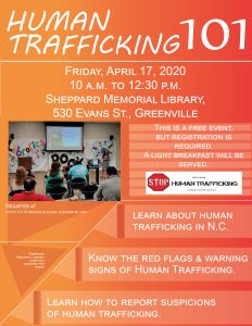 Greenville, NC Human Trafficking 101 workshop flyer. Source: Pam Strickland, NC Stop Human Trafficking