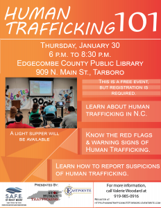 Tarboro, NC Human Trafficking 101 workshop flyer. Source: Pam Strickland, NC Stop Human Trafficking