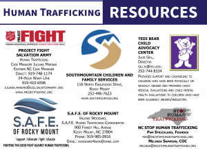 Human Trafficking Resources in North Carolina. Source: Pam Strickland, NC Stop Human Trafficking