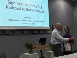 Guest Speaker Peter Varney with Joyce Edwards Dantzler at the Rocky Mount Railroad Museum Annual Meeting 2020. Photo: Kay Whatley