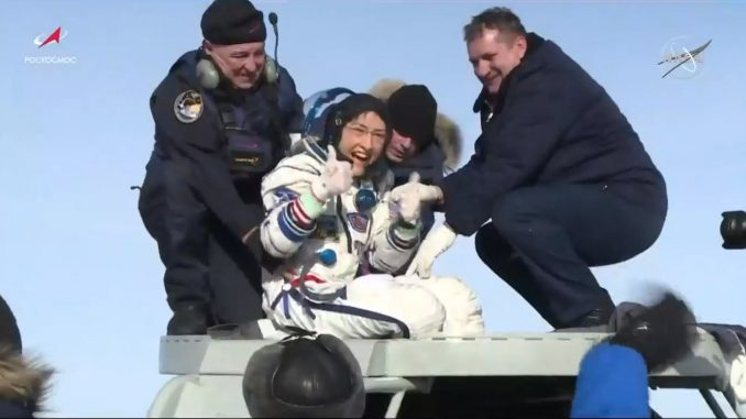 NASA astronaut Christina Koch gives a thumbs-up as she emerges from the Soyuz spacecraft February 6, 2020. Credits: NASA Television