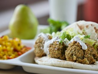 Get Schools Cooking districts will work towards scratch cooking recipes like this falafel pita wrap. Source: Chef Ann Foundation