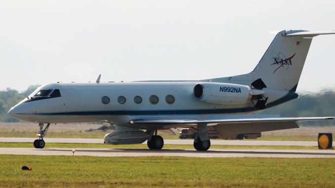 A Gulfstream III aircraft equipped with NASA's UAVSAR instrument, one of several instruments to be deployed for Delta-X. Source: JPL
