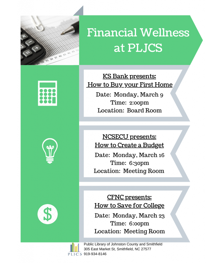 Financial Wellness series in March 2020 at Public Library of Johnston County and Smithfield, North Carolina