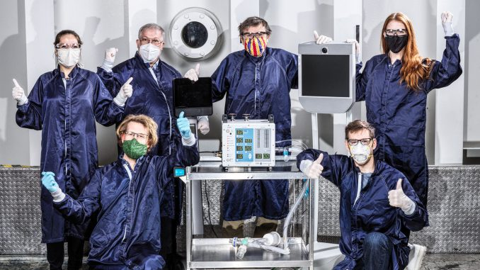 Some of the dozens of engineers involved in creating a ventilator prototype specially targeted to coronavirus disease patients at NASA's Jet Propulsion Laboratory in Southern California. Called VITAL (Ventilator Intervention Technology Accessible Locally), the prototype was developed in 37 days in March and April 2020. Credit: NASA/JPL-Caltech