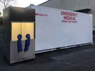No Contact portable COVID-19 test booth, next to Mobile Pathogen Testing Unit (MPTU). Source: Granite Tactical Vehicles Inc of North Carolina