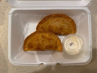 Yahyah's Empanadas savory Buffalo Chicken with spicy sour cream, Zebulon, NC. Photo: Nadia Ethier