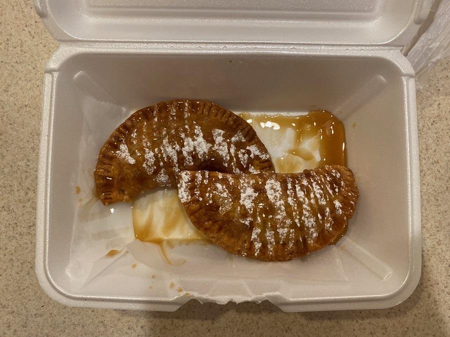 Yahyah's Empanadas sweet Cinnamon Apple with caramel drizzle, Zebulon, NC. Photo: Nadia Ethier