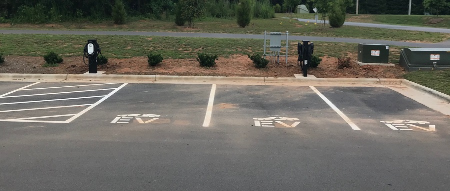 EV charging stations by Joyner Park Community Center, Wake Forest, NC. Photo: Ruben Wall, Town of Wake Forest