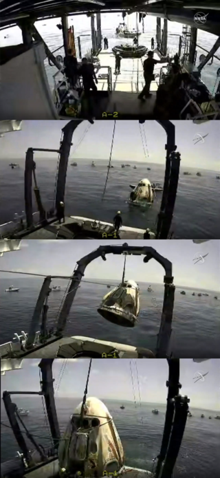 SpaceX's Crew Dragon, carrying NASA astronauts Robert Behnken and Douglas Hurley, splashed down in the Gulf of Mexico on August 2, 2020, the first splashdown in decades. Credits: NASA Television